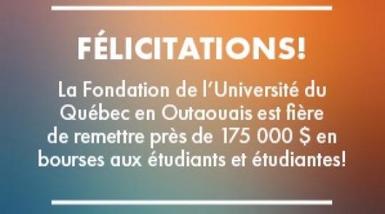 La Fondation de l'UQO est fière de remettre près de 175 000 $ en bourses